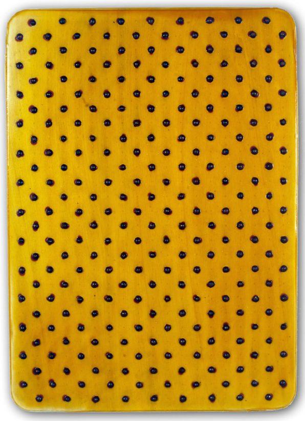 Tracce, 2016 - emulsione, ecoline e chiodi su tavola sagomata, 70x50cm