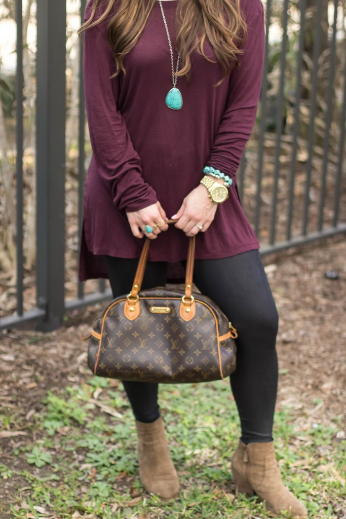 BP tee, faux leather leggings, turquoise, booties, louis vuitton