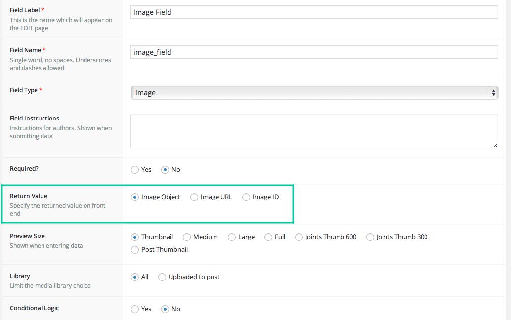 Advanced Custom Field Adding an Image Screen