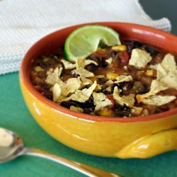 vegetarian black bean tortilla soup with corn that is vegan and gluten free