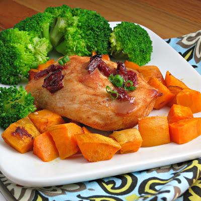 baked chipotle chicken with roasted sweet potatoes