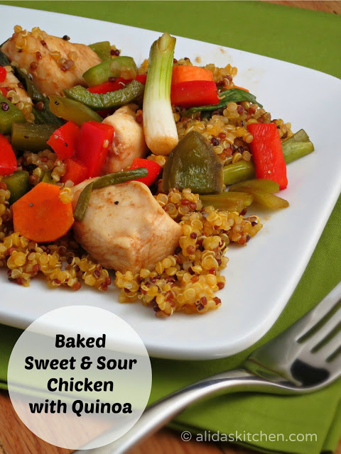 Baked Sweet & Sour Chicken with Quinoa | alidaskitchen.com