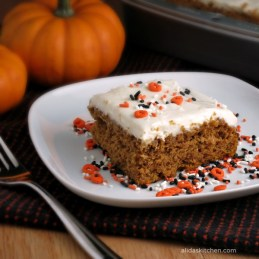 Lighter Frosted Pumpkin Cake