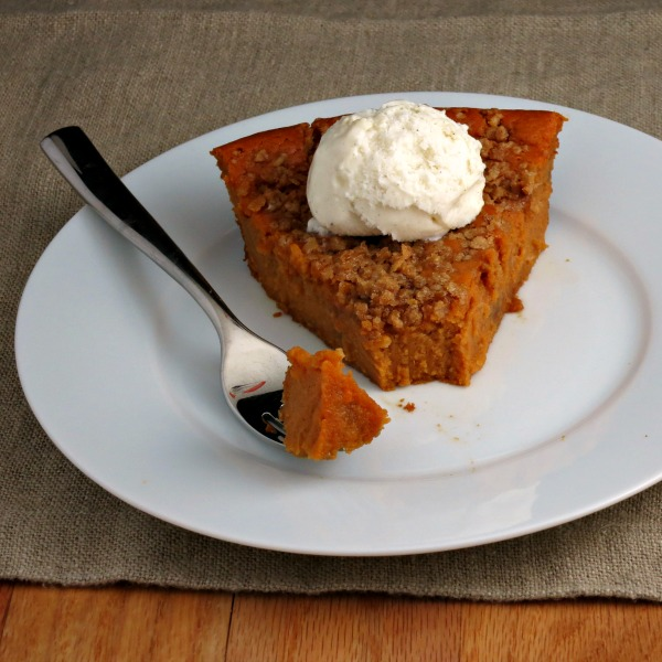 Sweet Potato Pie without crust and a brown sugar-oat topping   alidaskitchen.com