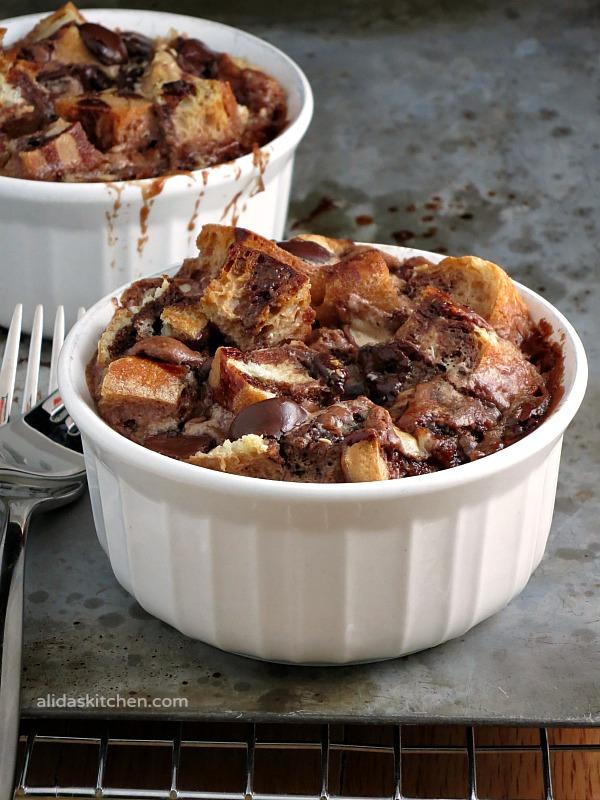 Chocolate Malt Bread Pudding for Two | alidaskitchen.com