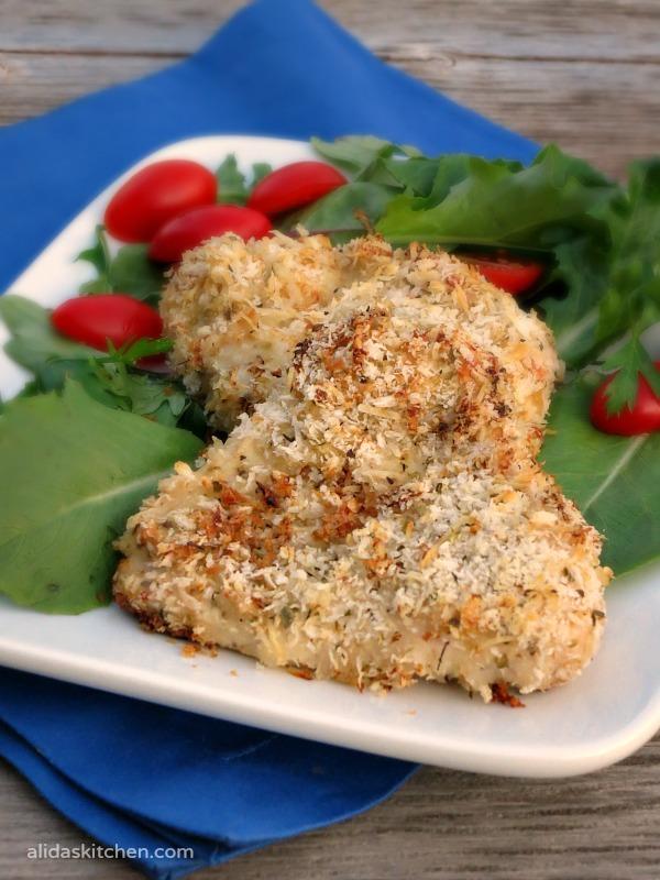Baked Garlic Mustard Panko Chicken - Alida's Kitchen #recipes #WeekdaySupper