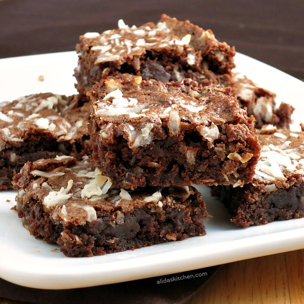 Chocolate Coconut Brownies | alidaskitchen.com