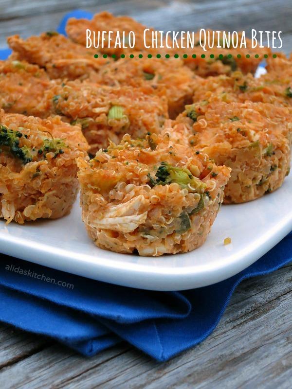 Buffalo Chicken Quinoa Bites | alidaskitchen.com