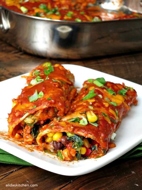 Cheesy Vegetable Enchiladas | alidaskitchen.com