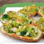 Broccoli Cheddar Stuffed Potato Skins #SundaySupper