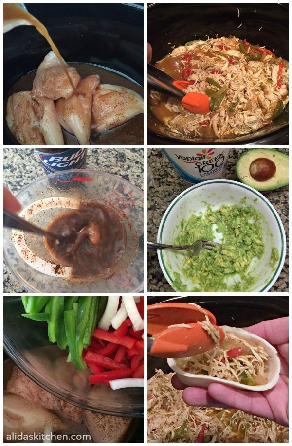 Slow Cooker Beer Chicken Fajitas | alidaskitchen.com