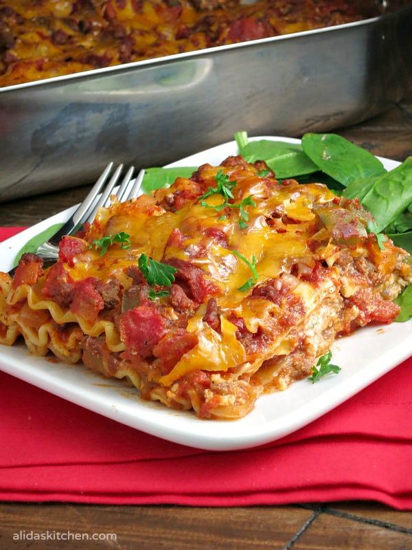 Cheesy Beef Taco Lasagna | alidaskitchen.com
