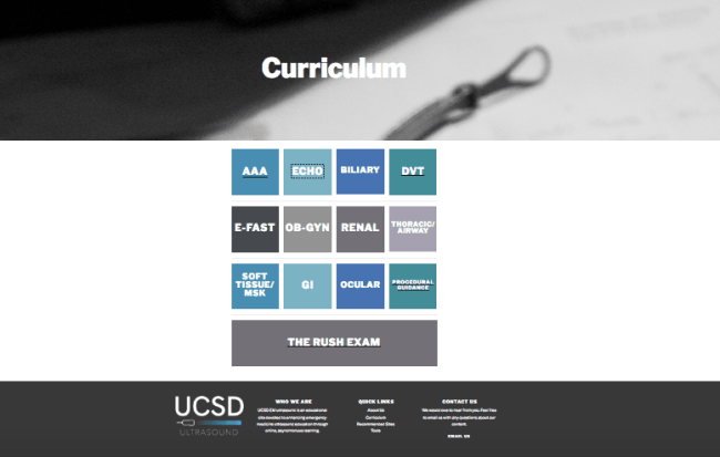 UCSD EM Ultrasound website curriculum