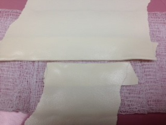 Step 3. Arrange 2 pieces of folded foam tape over the gauze, leaving a small space between the 2 pieces.