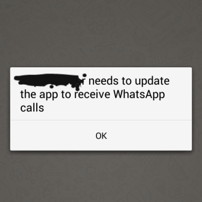 WhatsApp needs to be updated for audio call feature