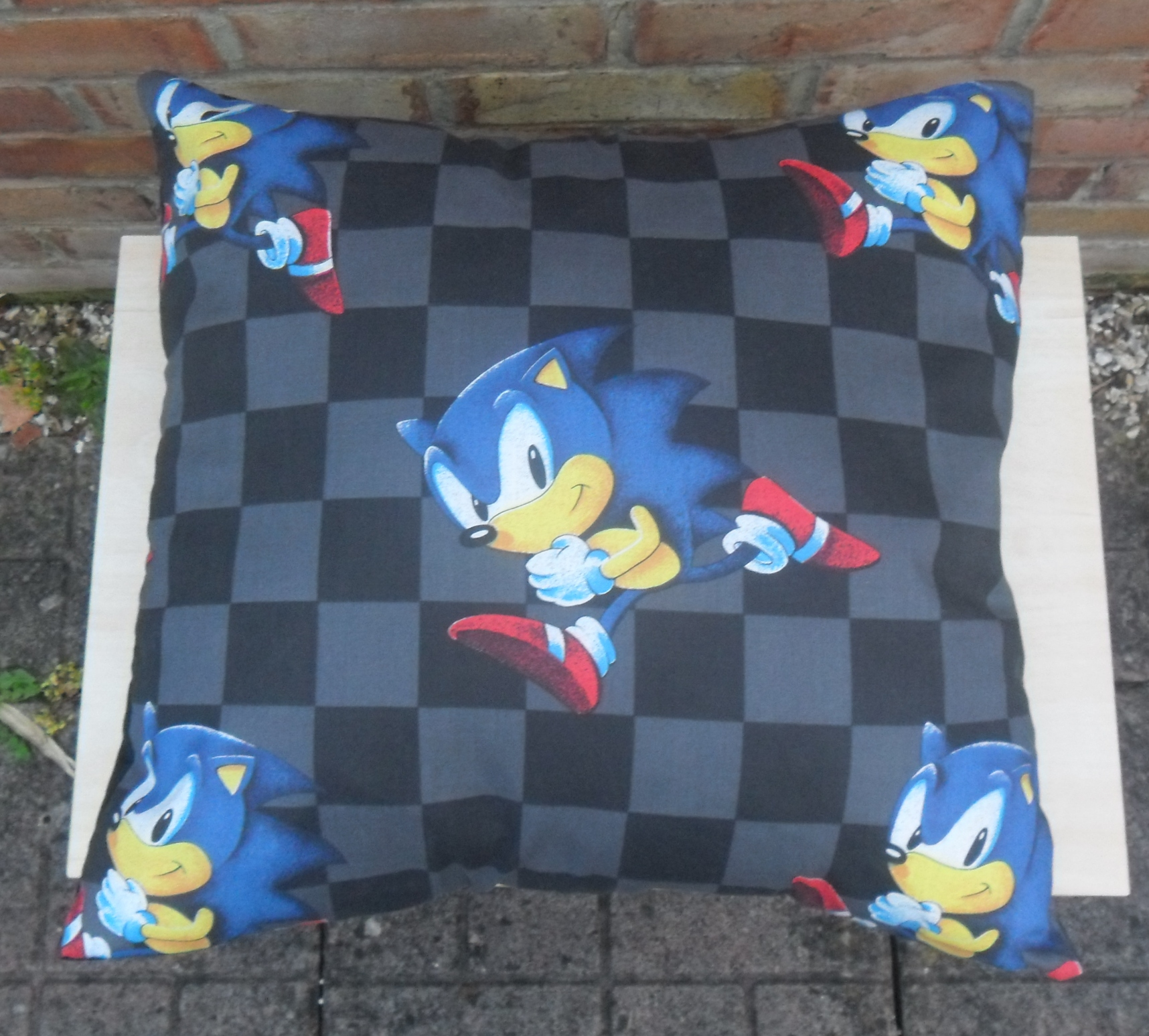 Sonic The Hedgehog Nintendo Vintage Fabric Cushion Handmade By Alien Couture Alien Couture