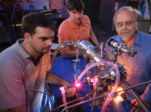 Left to right: Ames scientists Michel Nuevo, Christopher Materese and Scott Sandford reproduce uracil, cytosine, and thymine, three key components of our hereditary material, in the laboratory. Image Credit: NASA/ Dominic Hart