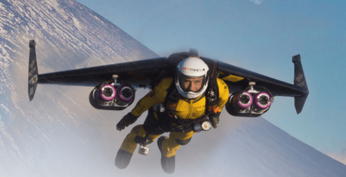 The Jetman in flight over Mt. Fuji Japan.