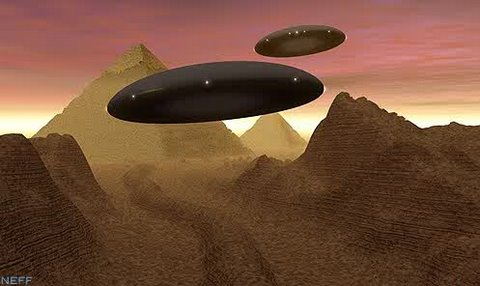 Flying Saucers over Egyptian pyramids