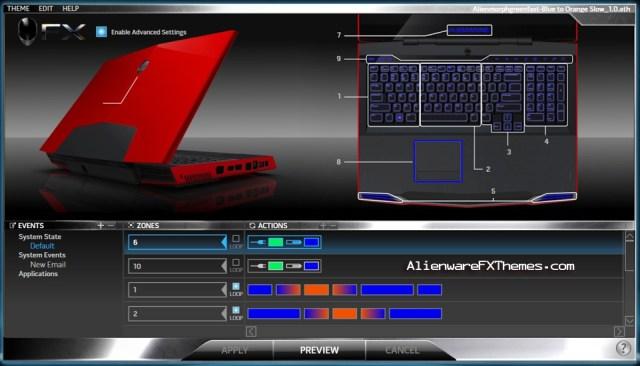 Alienmorph Green Fast Blue to Orange Slow M17x Alienware FX Theme