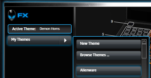 Alienware FX Theme Select Drop Down