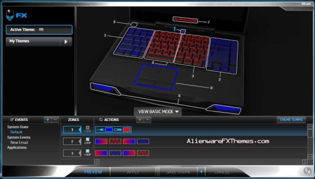 Red and Blue Pulsing M14x Alienware FX Theme