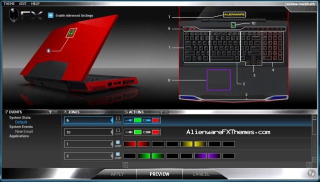 Rainbow Morph M17x Alienware FX Theme