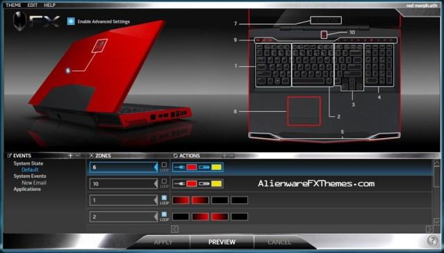 Red Morph M17x Alienware FX Theme
