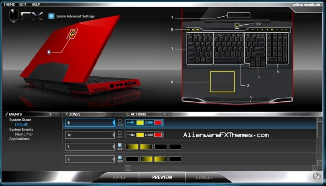 Yellow Morph M17x Alienware FX Theme