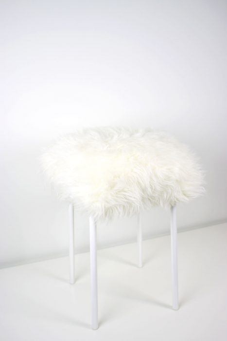 The finished product: DIY fuzzy faux fur stool