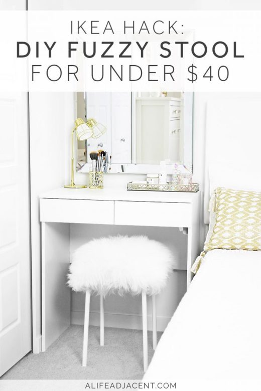 DIY fuzzy stool styled underneath IKEA dressing table