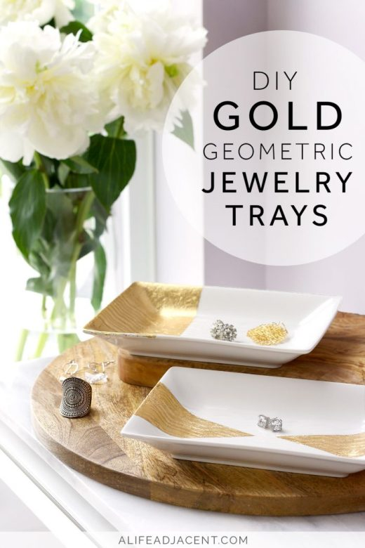 DIY gold leaf jewelry trays