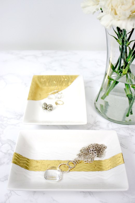 Pretty homemade jewelry trays with gold leaf
