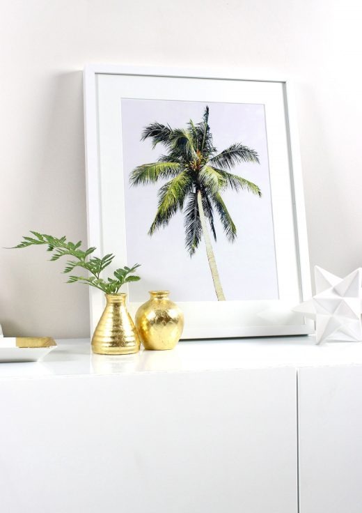 DIY Art: Creating Your Own Framed Tropical Prints - Printable Wall Art, IKEA, Frames, Prints, Printables, Inexpensive, Custom, Art, Palm Trees, Palms, Make Your Own Art, Print Your Own Art, Framing Printable Art, Gold Leaf Vases