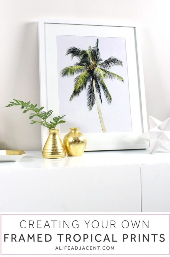 DIY Art: Creating Your Own Framed Tropical Prints - Printable Wall Art, IKEA, Frames, Prints, Printables, Inexpensive, Custom, Art, Palm Trees, Palms, Palm Print, Make Your Own Art, Print Your Own Art, Framing Printable Art, Gold Leaf Vases, White and Gold, Black and White, Royalty-Free Photos