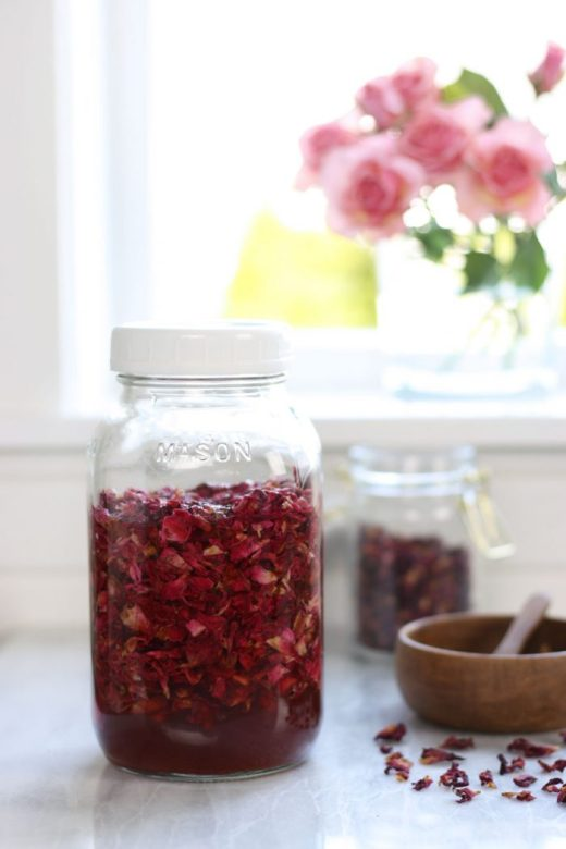 Rose petals infusing into vinegar in glass jar