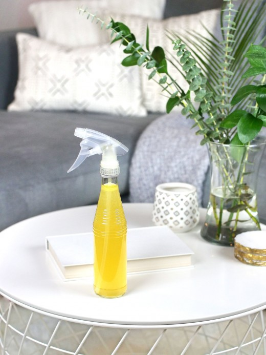 DIY vodka cleaning spray made with essential oils