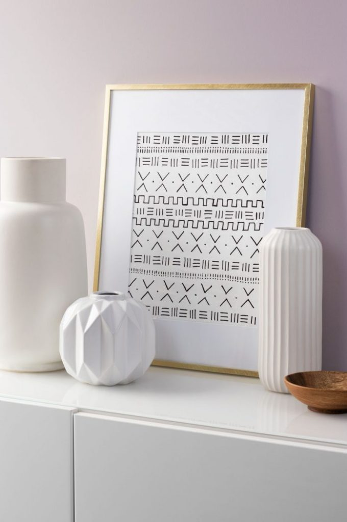 DIY African mudcloth inspired print in gold frame