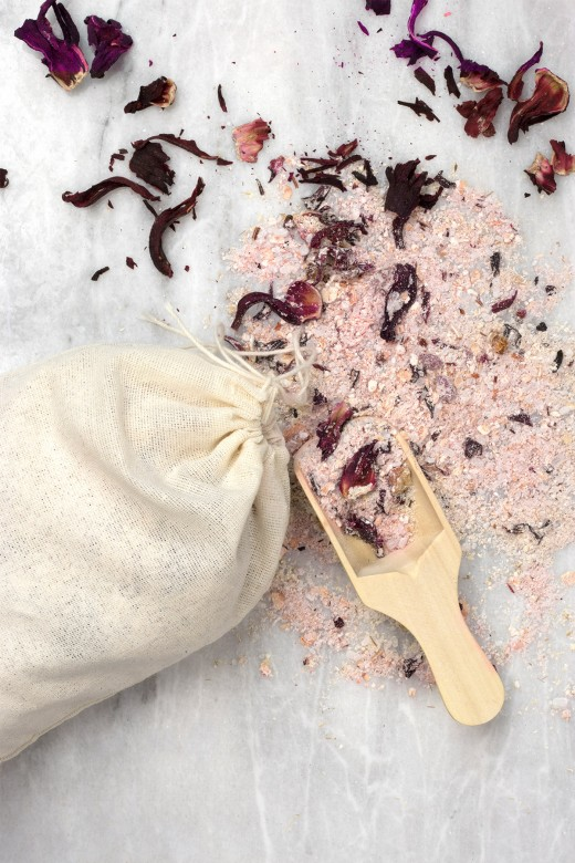 DIY bath tub tea with oatmeal, hibiscus, and lemon peel