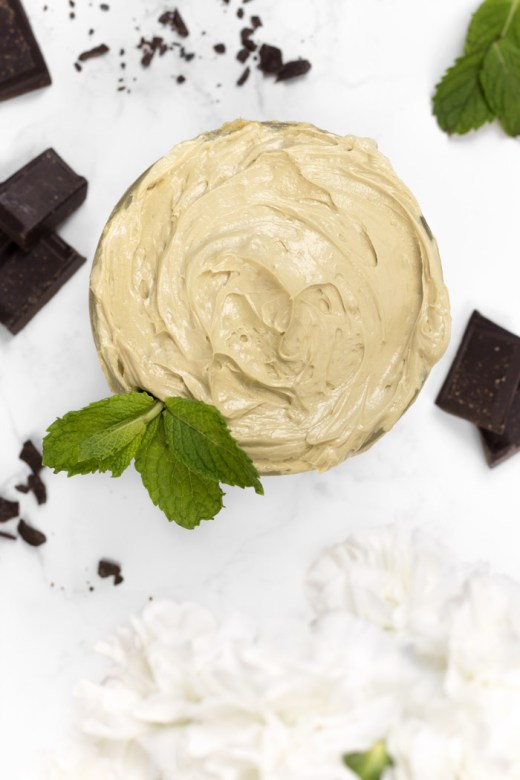 DIY mint hot cocoa whipped body butter with bacuri butter
