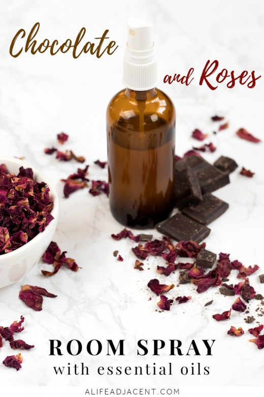 Homemade chocolate and roses room spray with essential oils