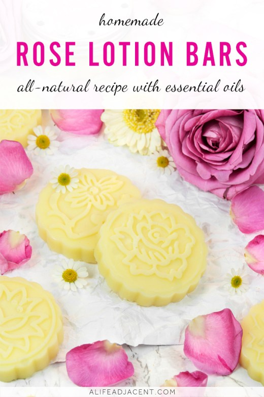 Homemade lotion bars with roses