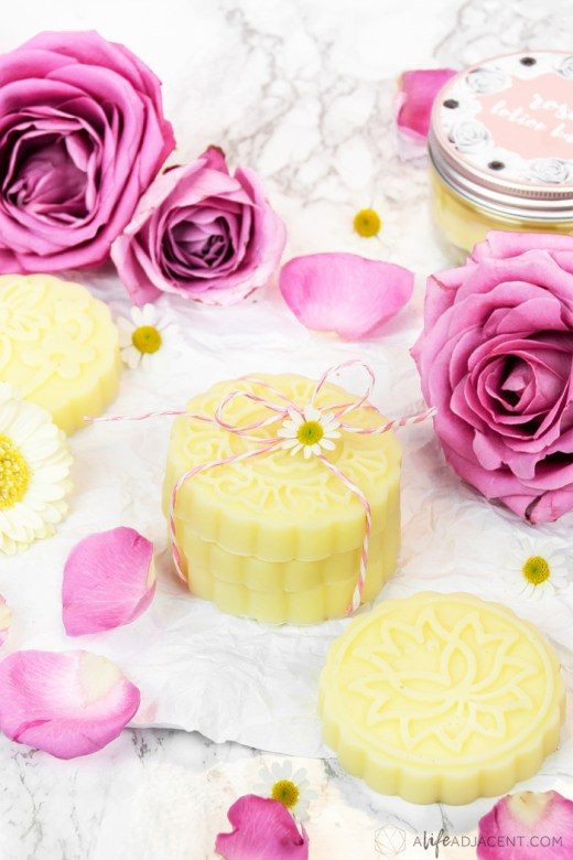 DIY rose lotion bars stacked with roses