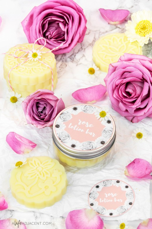 Rose lotion bars in jar with label