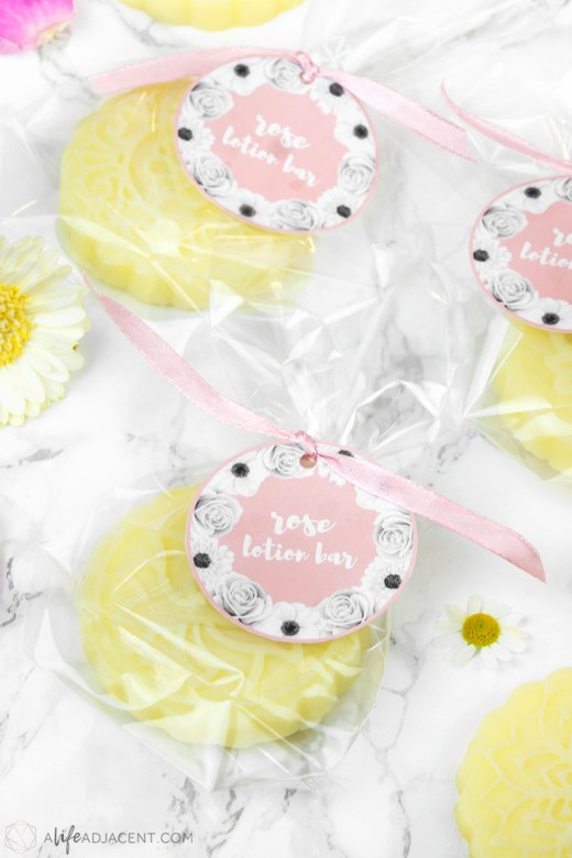 Homemade lotion bars with labels for gifting