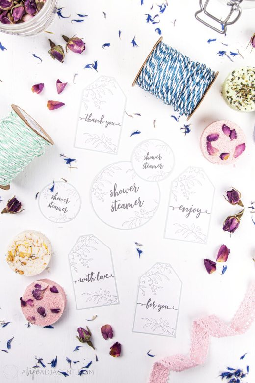 Beautiful printable labels for homemade shower melts