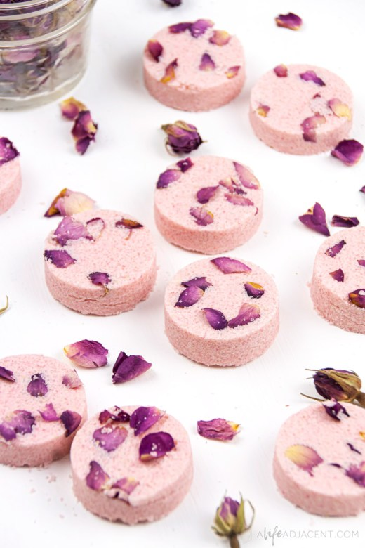 DIY shower steamers with rose essential oil