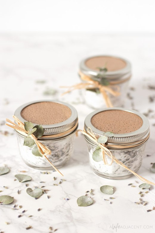 Essential oil air freshener jars with baking soda