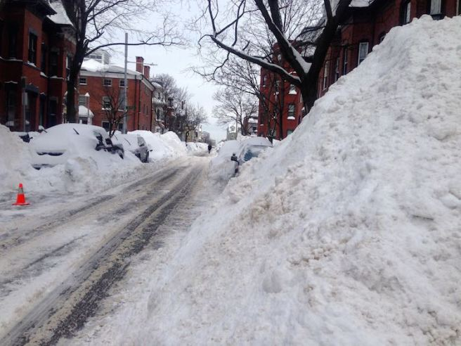 South Boston Snow Pile After Blizzard