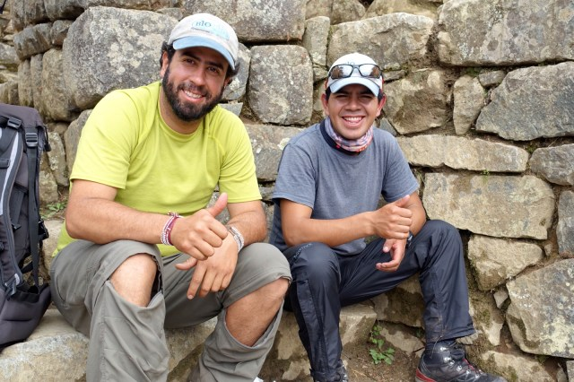 Two of our Inca Trail guides, Alvaro (left) and Darwin (right).